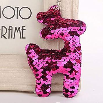 Amazon.com: FelixStore Cute Christmas elk Keychain Glitter ...