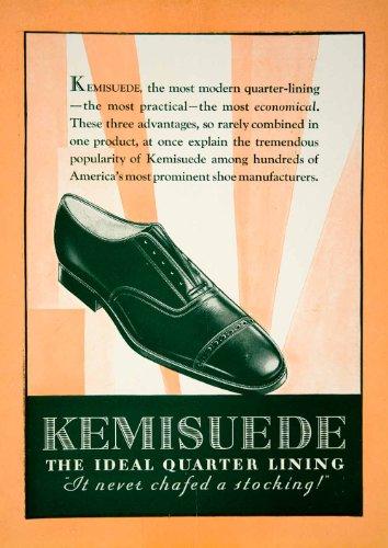 1929 Ads Kemisuede Shoe Men Fashion Portrait Art Deco Orange Akron Ohio Leather - Original Print - Akron Shoe