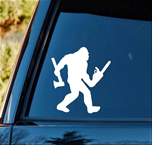 Bluegrass Decals Bigfoot Lumberjack Logger with Axe and Chainsaw Decal Sticker B1149