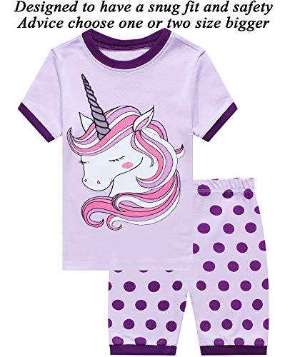 Little Pajamas Unicorn Sleepwear 100percent Cotton Summer Short Toddler Pjs Clothes Shirts Purple 12 12 by Little Cat