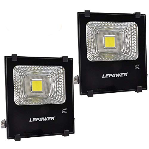 LEPOWER 2 Pack 20W LED Flood Light Outdoor, Super Bright Work Light, 100W Halogen Bulb Equivalent, IP66 Waterproof Outdoor Landscape Floodlight, 6000K,1600lm, Outdoor Led Lights(Daylight White 2-pack)