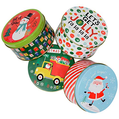 Christmas Gift Tins, Small Box for Gift Card, Cookies or Candy (Set of 4) (Holiday Fun, Round 4.2