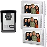 AMOCAM 7inch LCD Monitor Wired Video Intercom Doorbell System, 1 Camera 3 monitor Video Door Phone Bell Kits, Support Monitoring, Unlock, Dual-way Door Intercom, IR Night Vision