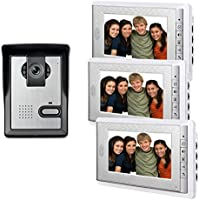 AMOCAM 7 LCD Monitor Wired Video Intercom Doorbell Home Security Systems, 1- Camera 3- monitor Video Door Phone Bell Kits, Support Monitoring, Unlock, Dual-way Door Intercom, IR Night Vision