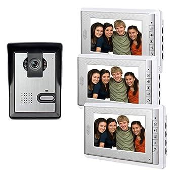 Image of AMOCAM Wired Video Intercom Doorbell System, 3PCS 7-Inches LCD Monitor Video Door Phone Bell Kits, Support Monitoring, Unlock, Dual-way Door Intercom, IR Night Vision