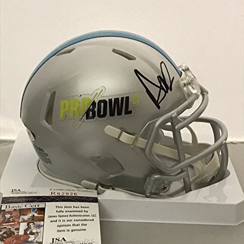 Dallas Cowboys Autographed Pro Football - Autographed/Signed Dak Prescott 2017 Pro Bowl Dallas Cowboys Football Mini Helmet JSA COA