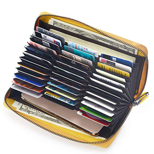 RFID 36 Credit Card Holder Large Wallet Leather for Women Multi Card Lots Protector Organizer Purse (Yellow)