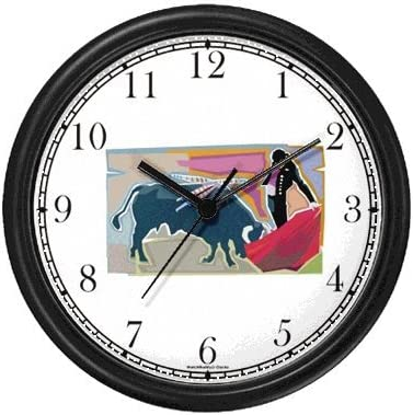 Spanish Bull Fighting – Matador Cape No.4 – Spain Theme Wall Clock by WatchBuddy Timepieces Black Frame