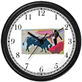 Spanish Bull Fighting - Matador & Cape No.4 - Spain Theme Wall Clock by WatchBuddy Timepieces (Black Frame)