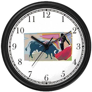 Spanish Bull Fighting - Matador & Cape No.4 - Spain Theme Wall Clock by WatchBuddy Timepieces (Black Frame) by WatchBuddy