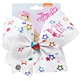 JoJo Bows - Birthday Girl White Bow with Rainbow Stars - Large 20cm - Jojo Siwa Hair Accessory