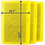 Air Ranger Replacement Filter Pads 21x22 (3 Pack) YELLOW