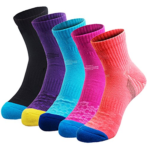 Veatree 5 Pairs Women's Hiking Socks, Half Thickness Multi Performance Wicking Cushion Trekking Running Camping Outdoor Crew Boots Socks