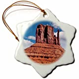 3dRose DanielaPhotography - Landscape, Nature - East Mitten Butte in Monument Valley, Navajo Tribal Park, Utah, USA - 3 inch Snowflake Porcelain Ornament (orn_282009_1)