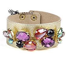 Fashion Jewelry Large Clear Crystal Bracelet Vintage Resizable Chain Leather Bracelet Jewelry