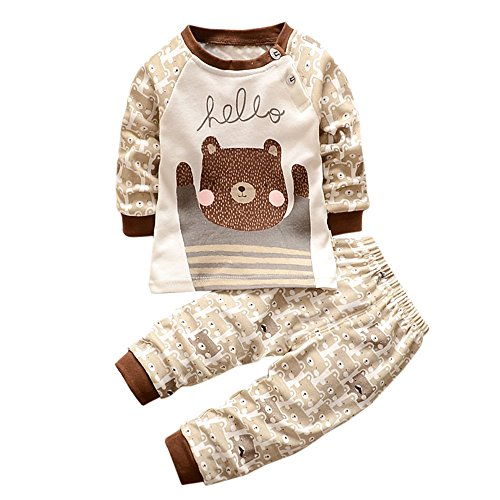 Infant Boys Girls Warm Cartoon Bear Print Hoodie Top+Pants Outfits Set (3T, Brown)
