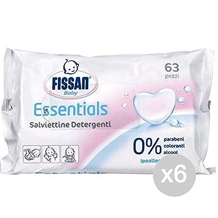 FISSAN - Juego de 6 toallitas para bebé de alta protección x 63 para la higiene