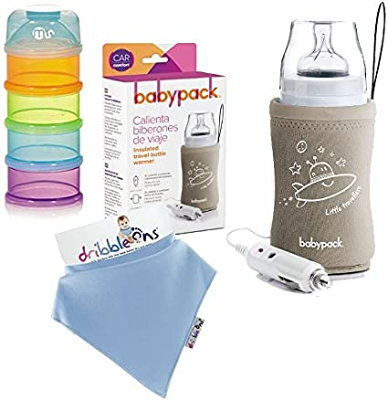 Pack Alimentación de Viaje: Calienta Biberones de Viaje + Babero + Dosificador de Tomas: Amazon.es: Bebé