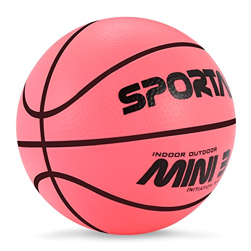 5 Inch Mini Rubber Basketball (Sport AI Small Pink Basketball Mini Cute Basketball for Kids Soft and Bouncy,Eco-Friendly and Safe to Play with Whole Family,5
