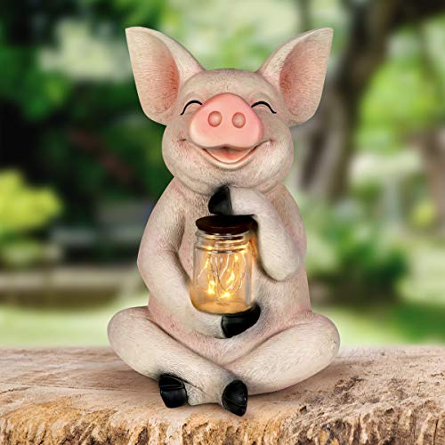 (Exhart Solar Pig Garden Statue with LED Firefly Lights Glass Jar –Pig Statue Holding a Mason Jar w/Firefly String Lights –Pig Decor for Garden, Yard, Patio, 7
