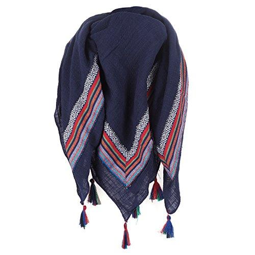 Maxi Foulard Coton Bleu marine Pompon