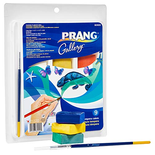 (PRANG Gallery Classic Tempera Paint Cakes, Refillable, 9 Color Set with Divided Pan and Brush (80900))