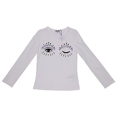 a38aa66a8 Kenzo Girl White Cotton Jersey Eye T-Shirt Mod. KI10128 2A: Amazon.co.uk:  Clothing