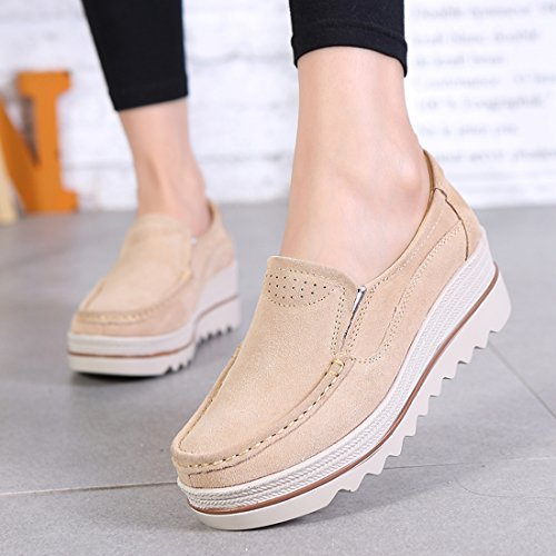 Z.SUO Women's Comfortable Suede Loafers Wedge Thick Heel Moccasins Wide Low Top Wedge Shoes Apricot 2cZUZIa