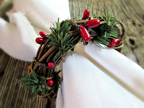Red Berry, Green Pine, Grapevine Twig Napkin Ring Holders for Christmas Table Decoration (Set of 4, 6, 8, 10, 12)