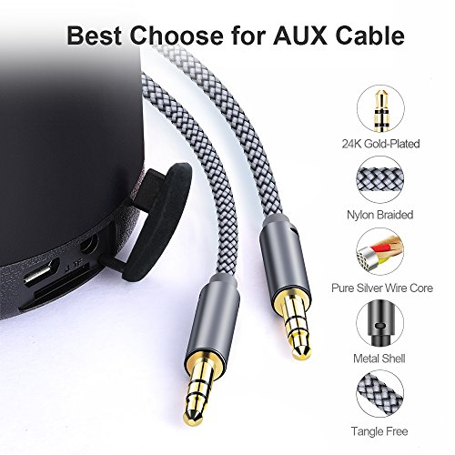JSAUX AUX Cable, [4ft/2 Pack- Copper Shell, Hi-Fi Sound] 3.5mm Auxiliary Audio Cable Nylon Braided Aux Cord for Car/Home Stereos,Speaker,iPhone iPod iPad,Headphones,Sony,Echo Dot,Beats ect – Grey