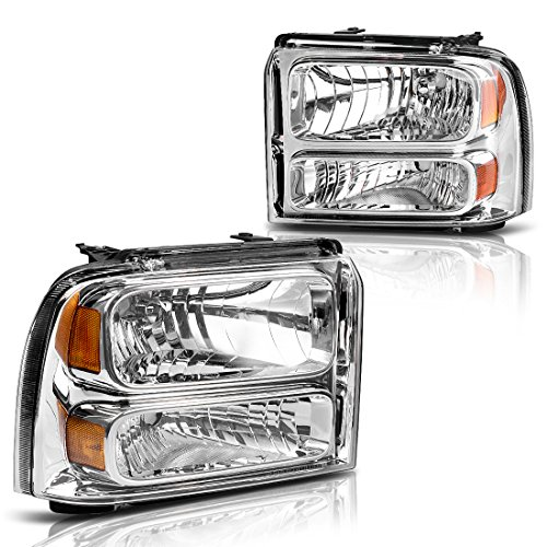 AUTOSAVER88 for 05 06 07 Ford F250 F350 F450 F550 Super Duty/ 05 Ford Excursion Headlight Assembly,OE Projector Headlamp,Chrome Housing Clear Lens,One-Year Limited Warranty(Driver and Passenger Side)