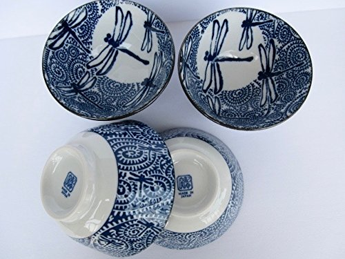 Japanese rice bowl donburi Mino ware tako karakusa with dragonfly set of 4 (Dragon Rice Bowl)