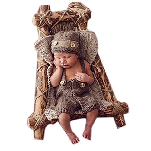 Binlunnu Fashion Newborn Boy Girl Baby Costume Knitted Photography Props Hat Pants ()