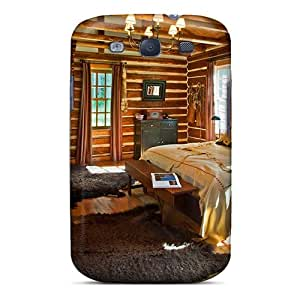 High Quality Log Cabin Bedroom Suite Case For Galaxy S3 / Perfect Case