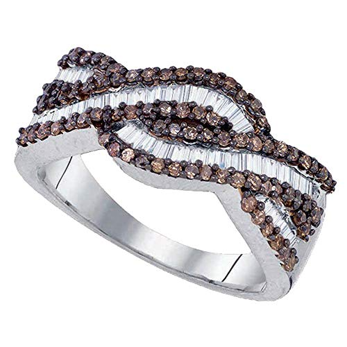 Brown Diamond Woven Band Fancy Cocktail Ring Curve Style Round Baguette Womens Fancy .73ct 925 Sterling Silver