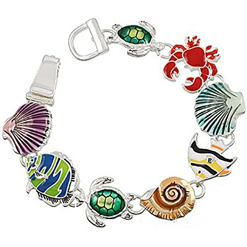 Angel Fish Bracelet - Liavy's Multi-Color Sea Life Fashionable Chain Bracelet - Seashell/Sea Turtle/Conch/Angel Fish/Crab - Epoxy - Silver Plated - Magnetic Clasp - Unique Gift and Souvenir