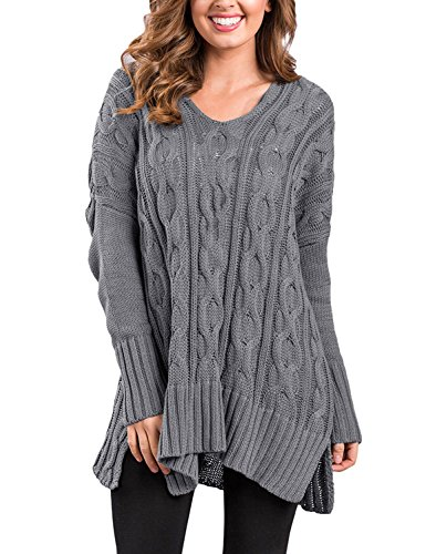 GRAPENT Woman's Casual V Neck Long Sleeve Loose Oversized Cute Nice Lovely Soft Warm Cozy Comfy Drape Cable Knit Sweater Pullover Top For Women Grey Color Size L (US 12-14) -