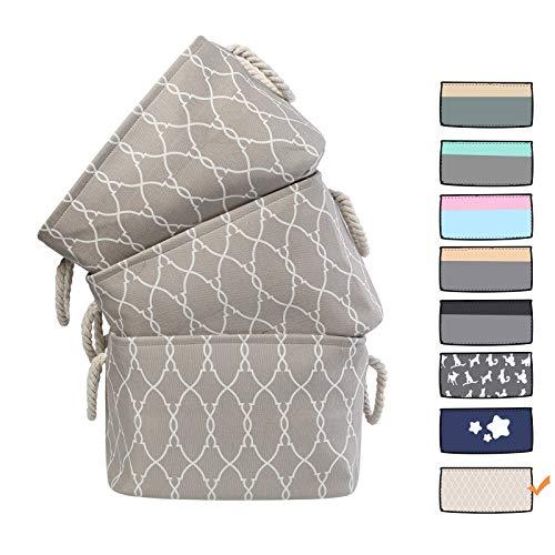 3 Pack Large Storage Shelf Basket Set Big Rectangular Linens Fabric Collapsible Organizer Bin ()