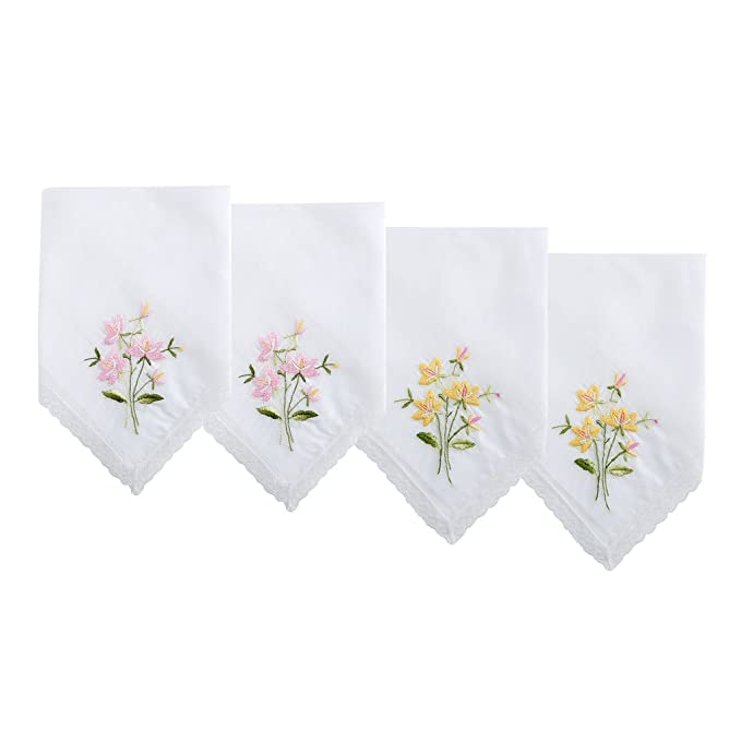 Floral Embroidered Handkerchief with Lace, Set of 4, 2 Pink - 2 Yellow