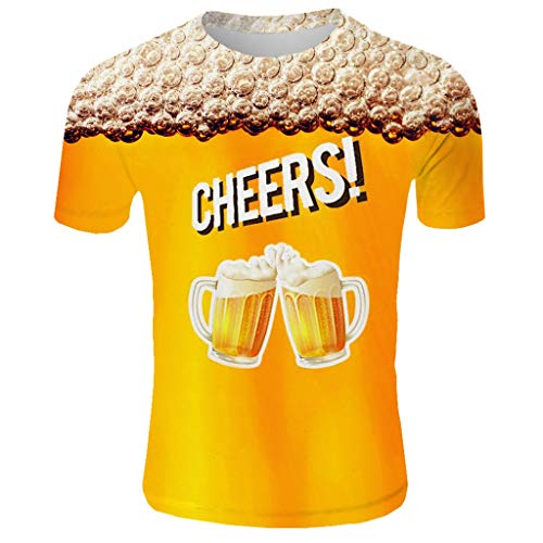 (TANGSen_Mens Beer Festival Top Round Neck Summer T-Shirt Casual 3D Printed Short Sleeve Leisure Fashion Tops Gold)