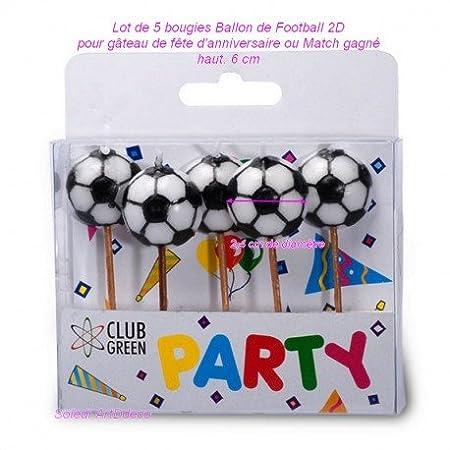 Juego de 5 velas de balón de fútbol 2d de fondo plano, para ...