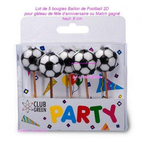 Juego de 5 velas de balón de fútbol 2d de fondo plano, para tartas ...