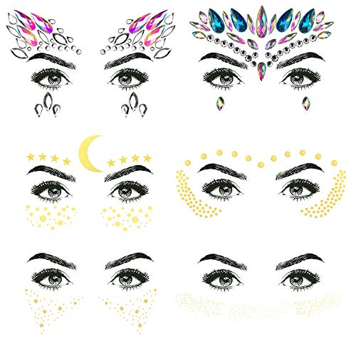(6 Sheets Metallic Temporary Tattoos Gold Jewelry Tattoo, Waterproof Flash Fake Tattoo Sticker Designs for Women Girls, Including 2 Sheets Face Jewels)