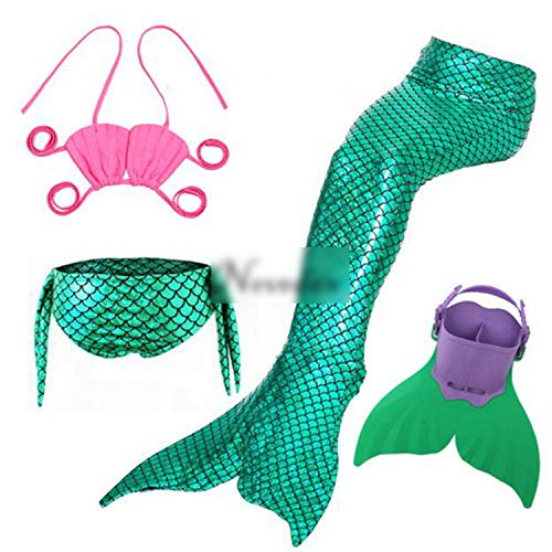 Kids Swimming Mermaid Tail with Monofin Swimsuit Costume CClothing,Style 12,10T -