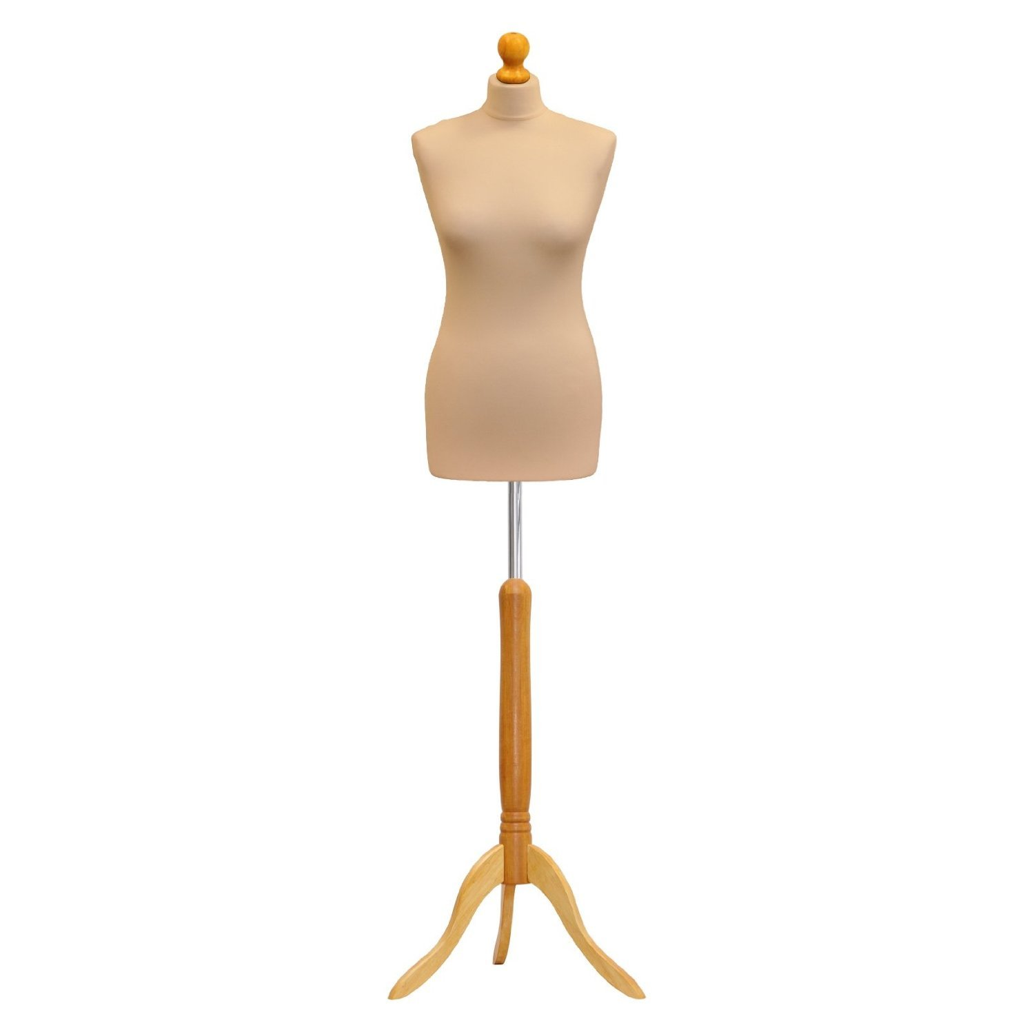 Female Tailors Dummy Cream Size 10/12 Dressmakers Fashion Students Mannequin Display Bust With A Light Wood Base