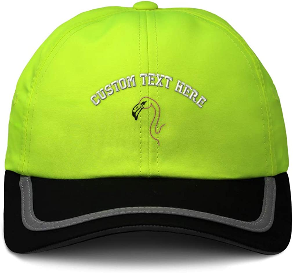 Custom Reflective Running Hat Flamingo Head Outline Embroidery One Size