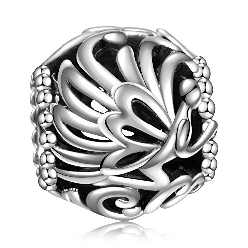 Angemiel 925 Sterling Silver Dazzling Fairy Tinker Bell Openwork Charms Bead for European Snake Chain Bracelets