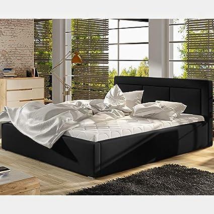 Cama con somier, 160 x 200 cm, color negro Belluci: Amazon.es ...