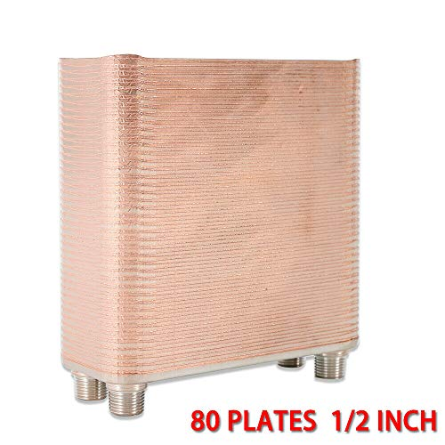 - DY19BRIGHT Stainless Steel 80 Plate Water to Water Brazed Plate Heat Exchanger 1/2