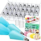 Cake Decorating Supplies Kit Tips 30 Pieces, 24 Stainless Steel Icing Tip set, 2 Reusable Coupler and 2 Silicone Pastry Bags